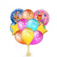Композиция из шариков Три Кота на день рождения со звёздами
