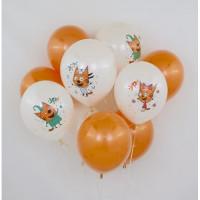 Букет из шариков с белыми шарами Три кота