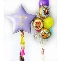 Композиция из шаров Три кота с индивидуальной надписью на большой звезде