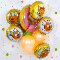 Букет из шариков с пончиком и котами из м/ф Три кота
