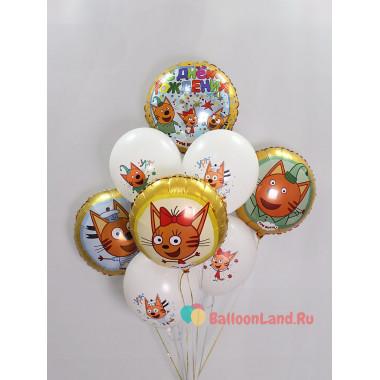 Букет шариков со всеми героями м/ф Три кота