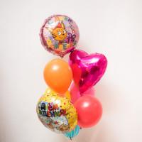 Фонтан из гелиевых шариков С днём рождения, с Карамелькой (Три кота)