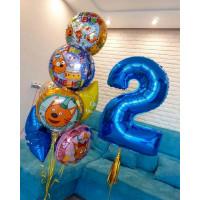 Композиция из гелевых шаров Три кота с цифрой для мальчика