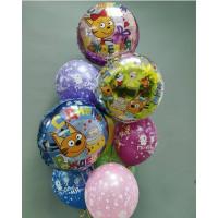 Букет из шариков с гелием с героями м/ф Три кота (Карамелька, Коржик, Компот)
