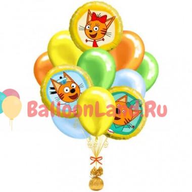 Букет из гелиевых шариков в ярких тонах с героями м/ф Три кота