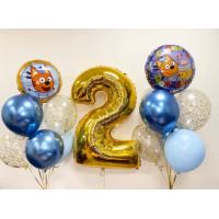 Набор воздушных шаров с двумя фонтанами и цифрой, м/ф Три кота