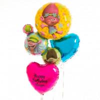 Фонтан из шариков с гелием Тролли с сердцами