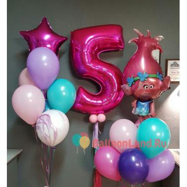 Композиция из гелиевых шариков Тролли Розочка на День Рождения с цифрой и звездой
