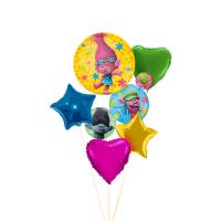 Сет из воздушных шариков Тролли со звездами и сердцами
