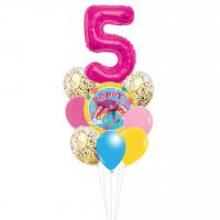 Фонтан из шариков с гелием Принцесса Розочка с цифрой и шарами с конфетти