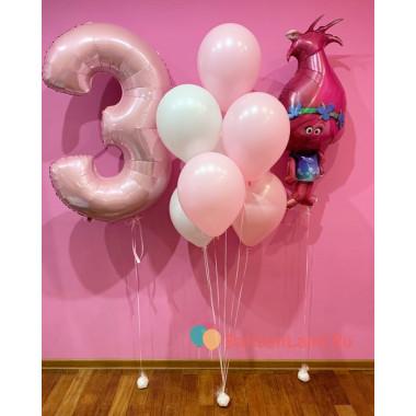 Композиция из гелиевых шаров Тролли - Розочка с цифрой и фонтаном в нежно-розовой гамме
