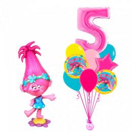 Композиция из шаров Тролли Розочка с фонтаном с цифрой