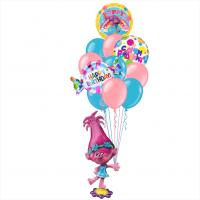 Композиция из шаров Принцесса Розочка Тролли с фонтаном С Днем Рождения с конфетой