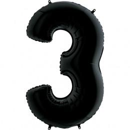 Шар-цифра Черная Тройка 3