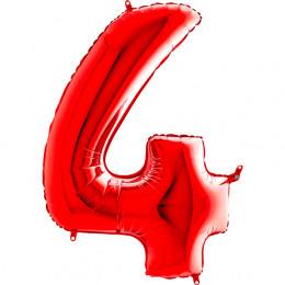 Шар-цифра Красная Четверка 4