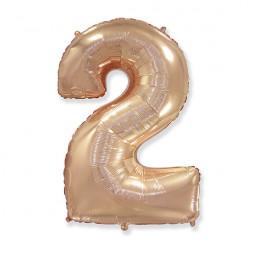 Шар-цифра нежно-золотая Двойка 2
