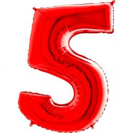 Шар-цифра Красная пятерка 5