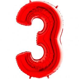 Шар-цифра Красная Тройка 3