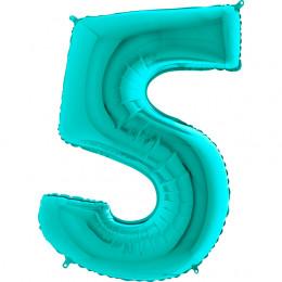Шар-цифра Бирюзовая пятерка 5