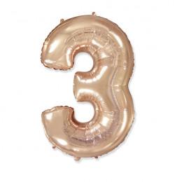 Шар-цифра нежно-золотая Тройка 3