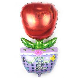 Фигурный шар Красная Роза в горшке