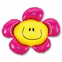 Фигурный шар Розовый цветок с улыбкой