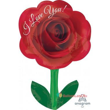 Фигурный шар Красная роза со стебельком