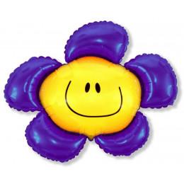 Фигурный шар Синий цветок с улыбкой
