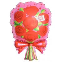 Фигурный шар Букет красных роз