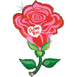 Фигурный шар Роза ( I Love You )