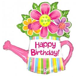 Фигурный шар Розовая Лейка с цветами