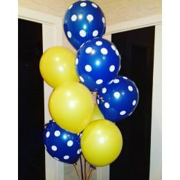 Фонтан из гелевых шариков Желто-синий с горошком