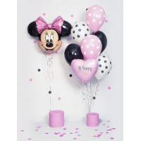 Композиция из шариков Минни Маус с розовым сердцем и шарами в горох