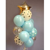 Букет из шариков со звездой и шариками в горошек