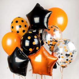 Композиция из шаров оранжево-черная со звездами