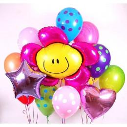 Набор гелиевых шаров с Розовым цветком , звездой, сердцем и шарами в горошек