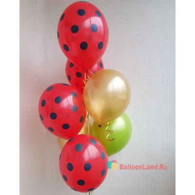 Букет воздушных шаров в черный горошек