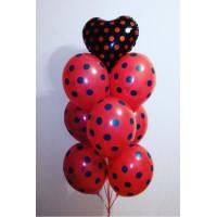 """Фонтан из гелевых шариков в горох с сердцем """"Черное и красное """""""