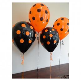 Шары Оранжево-черные в горошек - дополнительное фото #1