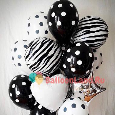 Букет из гелиевых шаров Белое и Черное