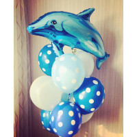 Букет гелиевых шаров в горошек с Дельфином