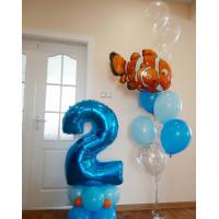 Композиция из шаров с цифрой и рыбкой из мультфильма Немо