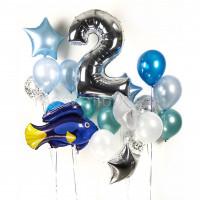 Композиция из гелиевых шаров на День Рождения с цифрой и синей рыбкой Немо
