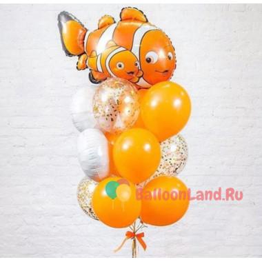 Букет шаров с гелием В поисках Немо оранжевый