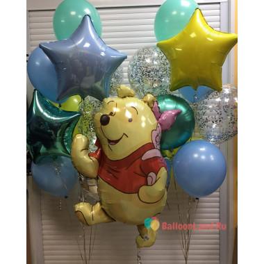 Композиция из воздушных шаров Винни Пух и Пятачок со звездами