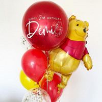 Букет шаров с Винни Пухом и красным шаром с вашим пожеланиями