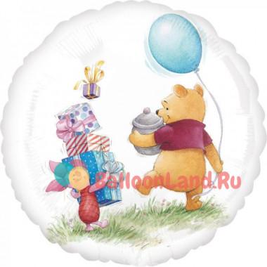 Фигурный шар 'Винни Пух и Пятачок, идут на праздник'
