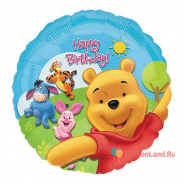Шар-круг 'Happy Birthday' с Винни Пухом и его друзьями