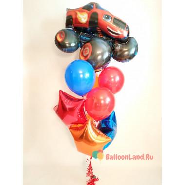 Букет гелевых шаров с персонажем м/ф Вспыш и чудо-машинки