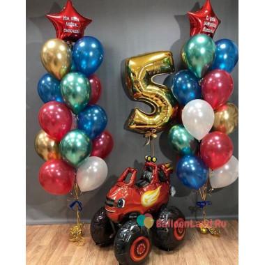 Композиция из воздушных шариков Вспыш с цифрой и двумя фонтанами